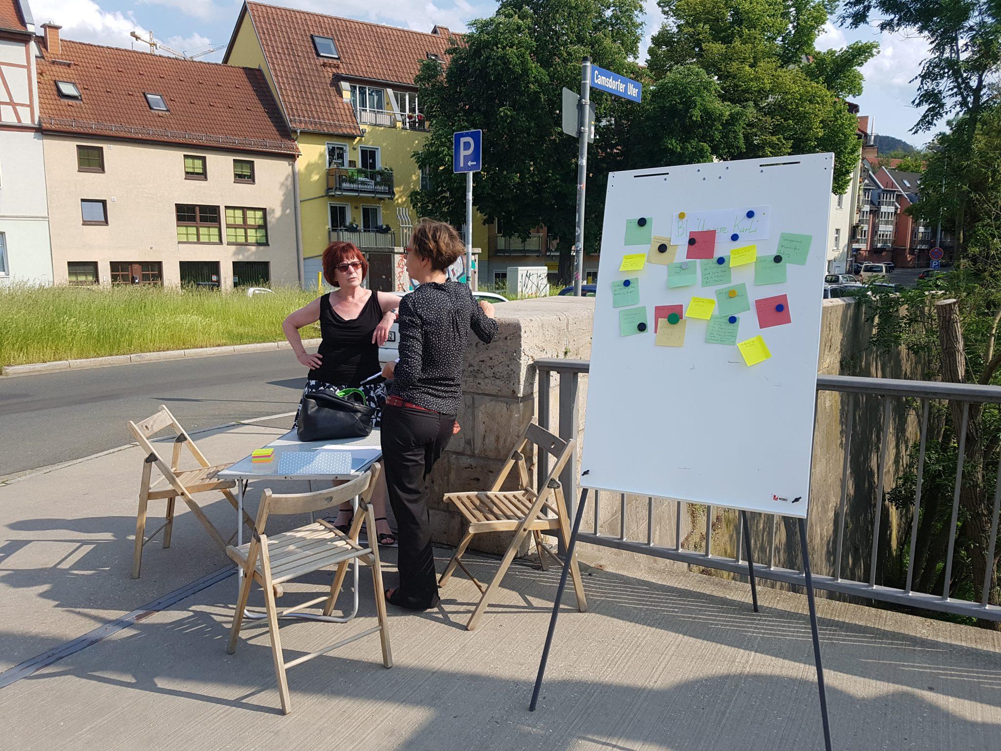 Kreuzung Camsdorfer Brücke:  Der tägliche Wahnsinn – Bürgerinitiative befragt Passant*innen