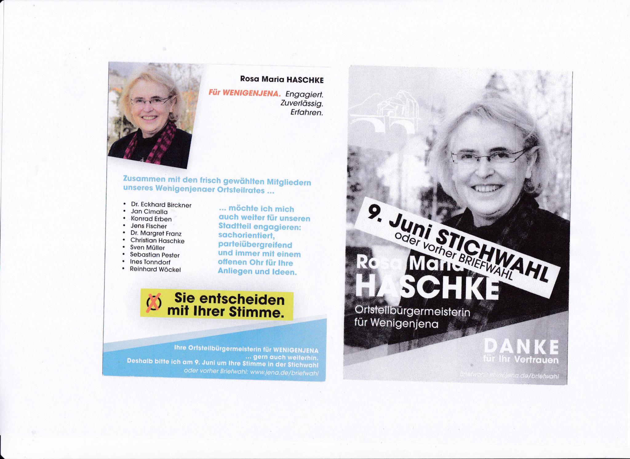Leserbrief: Zur Ortsteilbürgermeisterinnenwahl in Jena-Ost: »Fairer Wahlkampf sieht für mich anders aus.«