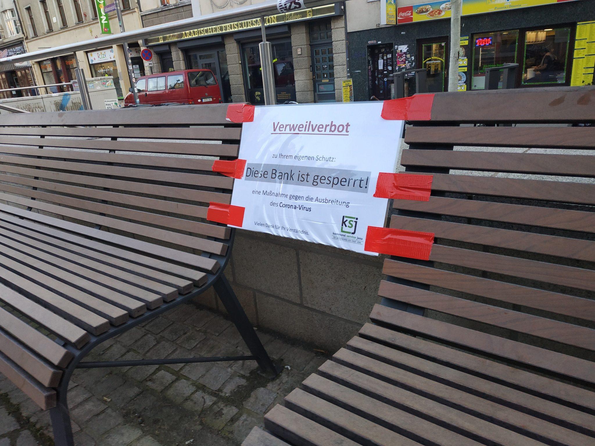 Jena: Banksperrungen werden aufgehoben / kein Verweilverbot in der Stadt